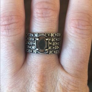 Reyna rings Antique silver and pyrite size 8
